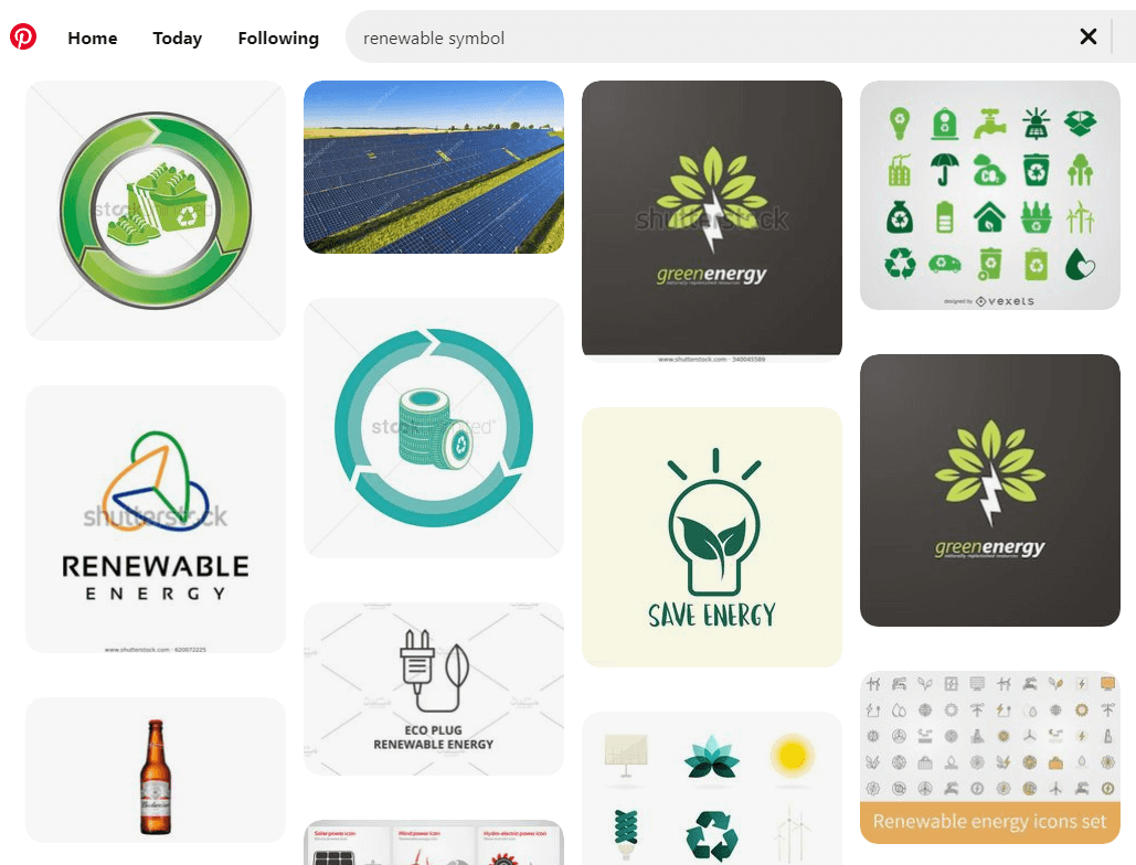 "pinterest search on ""renewable symbol"""